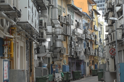 kirk pedersen urban asia photographs    Alley of Air Conditioners, Singapore   2008